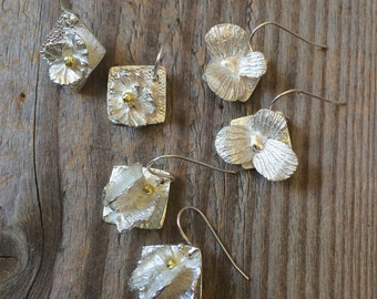 silver flower earrings, geranium leaves, ginkgo leaves, coral, silver jewelry, wedding jewelry, gardener gift, florist gift, chef gift