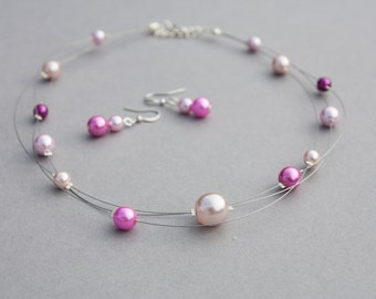 Blue Chalcedony And Freshwater Pearl Illusion Necklace And