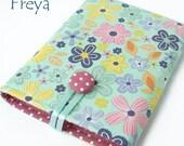 Funky Floral Tablet Covers / Cases for iPad Mini, Kindle Fire, GalaxyTab, Nexus 7, Nook HD. Pink polka dot lining. UK handmade. FREYA.