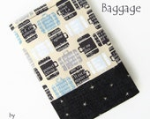 Unisex Passport Cover / Wallet / Holder. For men or women. Black, neutral, blue, grey. BAGGAGE.  Handmade in quality fabrics in Wales, UK.