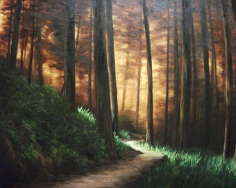 Sunlight, Trees, Woods, Path, Original Landscape Oil Painting