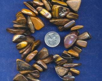"15"" Strand of Huge Hawaiian Gemstone Chip Beads: Tigereye"