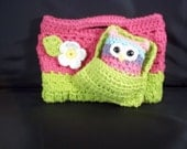 Hand Crocheted Cotton -Daisy Purse-Hot Pink and Hot Green with matching Cute Little Owl Stuffie