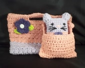 Hand Crocheted Cotton -Daisy Purse-Rose Pink and Lavender with matching Cute Little Kitty Stuffie