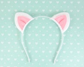 White Cat Ears Headband Kitty Halloween Costume
