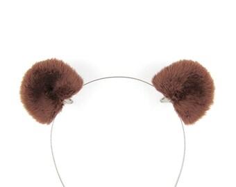 Bear Ears Hair Clips Brown Bear Costume Accessory