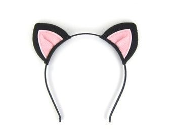 Black Cat Headband Felt Cat Ears Costume Headband