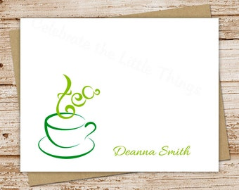 tea note cards, notecards - set of 8 - folded personalized stationery - cup of tea, afternoon tea, tea time, tea lover, hot tea