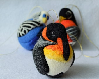 King Penguin, needle felted ornament ball, MADE TO ORDER