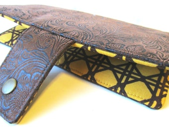Handmade women wallet brown faux tooled leather clutch - pattern #4 - brown lattice on gold mustard - ID clear pocket - Custom order - vegan