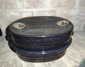 Antique 1900's Reed Black Enamelware / Graniteware Oven Roasting Pan
