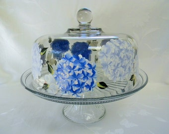Cake dish , glass Cake dish, covered cake dish, cake stand, hydrangeas, painted cake dish, ;punch bowl
