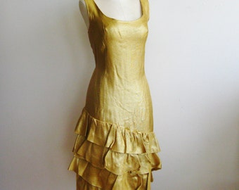 Vintage 50s Glittering Gold Lame Rockabilly Party Cha Cha Ruffle Dress