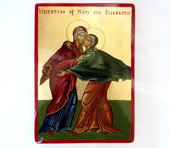 The Visitation of Mary and Elizabeth icon, MADE TO ORDER,  7x11 inches, Baptism Gift, Christening Gift