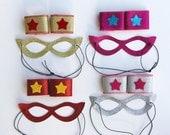 SPARKLE MASK + WRISTBAND Set - Superhero Accessory Set - Halloween Ready -16 set choices - Includes Wrist Bands and Sparkle Mask