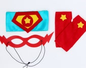 3 PIECE Hero ACCESSORY SET - Includes 1 Shield Belt - Matching Fingerless Gloves - Lightning bolt Mask - Match to your superkid capes