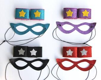 Kids Superhero SPARKLE MASK + WRISTBAND Set -16 set choices - Includes Wrist Bands and Sparkle Mask - Girl party favor - Kids Halloween