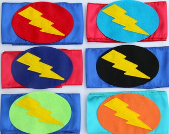 Fast Shipping - LIGHTNING BOLT BELT - Superhero Accessory Belt - costume accessory - Easter gift -Matches Superkid Capes - Lots of Colors