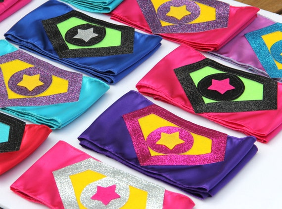 Childrens SPARKLE SUPERHERO BELTS - 13 Colorful Kids Shield Belts - Coordinate perfectly with all our Superkid Capes - Superhero Accessory