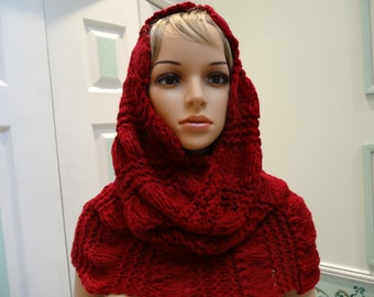 "READY TO SHIP : Extra large,Hoodie/Cape, Burgandy red, winter bulky weight , 27""high by 42"" around"