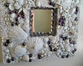 Decorative Shell mirror, white beach mirror, coastal decor, Beach cottage, Seashells nautical mirror frame, Low tide mirror, beachcombing