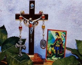Unbreakable Relic Chaplet of St. Florian of Lorch - Patron Saint of Firefighters