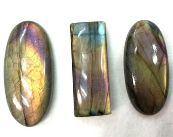 3 Pieces,140 Cts,GIANT EXTREMELY Rare Blue Flashy Labradorite Cabachons, 3 Pieces of 36-40mm Long,Superb Item