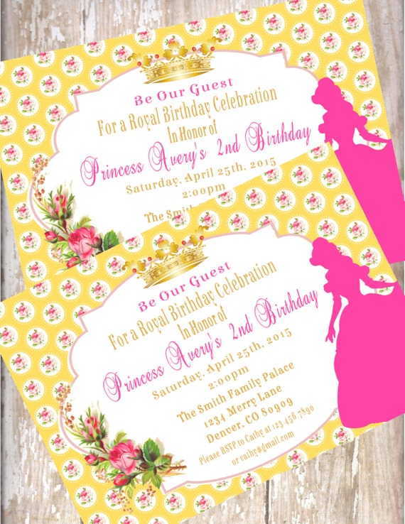 Beauty and the beast birthday invitations printed with envelopes il570xn filmwisefo Gallery