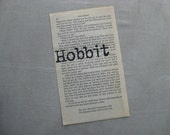 PAPER EPHEMERA, HOBBIT, Lord of the Rings, Tolkien, Stamped Book Page Vintage Paper, handstamped, frameable art