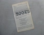 PAPER EPHEMERA, Books Bookish, Stamped Book Page Vintage Paper, handstamped, frameable art