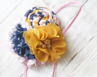 Win or Lose- mustard, white and navy rosette, chiffon and rosette headband