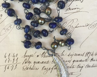 FEATHER-Rosary Style Necklace with Birds, Feather, Lapis and Pyrite