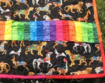 Rainbow Menagerie Carousel Lap Quilt
