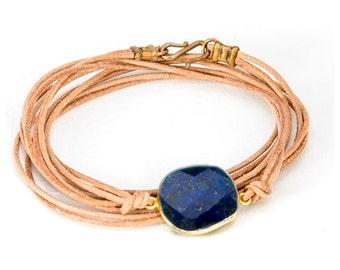 Choker Bracelet Convertible Leather Wrap with Lapis Framed Stone - BG03