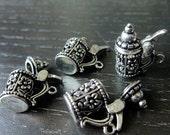 Destash (4) Detailed Opening Oktoberfest Beer Stein Mug Charms Pendants - for pendants, jewelry making, crafts, scrapbooking