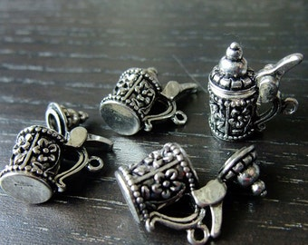 Destash (4) Detailed Opening Oktoberfest Beer Stein Mug Charms Pendants - for pendants, jewelry making, crafts, scrapbooking