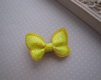 Bright Yellow Sequin Butterfly . Candy Collection . boutique clippie . girls hair accessory