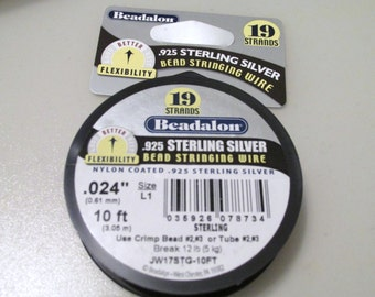 Sterling Silver Beading Wire, Beadalon Wire, Sterling Wire, Beadalon, Beading, Jewelry Wire, Sterling, 19 Strand Wire, Stringing, 10 ft