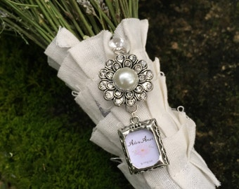 Wedding Bouquet Photo Charm - Pearl Encrusted Embellishment