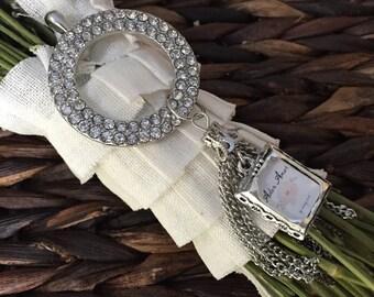 Bouquet Photo Charm - Jewel Encrusted Pendant