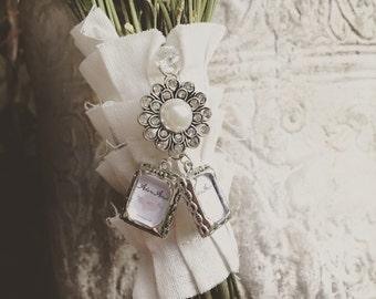 DOUBLE Wedding Bouquet Photo Charm - Jewel Encrusted Embellishment