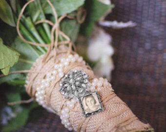 Wedding Bouquet Photo Charm - Jewel Encrusted Embellishment