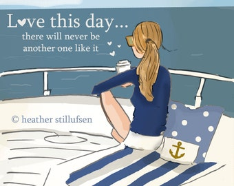 Love this Day -  On the Water- Sailing - Beach -  Digital Art Print -  Wall Art -- Print