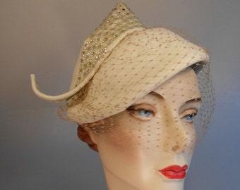 High Society Wedding - Vintage 1950 Patrice Ivory Felt & Rhinestone Beaded Peaked Hat w/Birdcage Veil