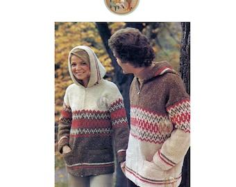 Nordic Fair Isle Zip-Up Sweater Hoodie Plus Size to Knit Circa 1978 - Vintage Digital Pattern - PDFInstant Download - PrettyPatternsPlease