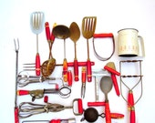 Near 30-Piece Red-Handled Kitchen Utensils.Instant Collection.Wall Decor.Display.Private Collection.wood.metal.Varied.tessiemay vintage
