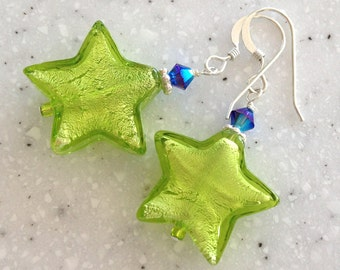 Large Venetian Glass Lime Stars with Blue and Silver Earrings