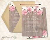 Vow Renewal Invitation- Vintage Floral / Surprise Vow Renewal / Cottage Chic / Rustic