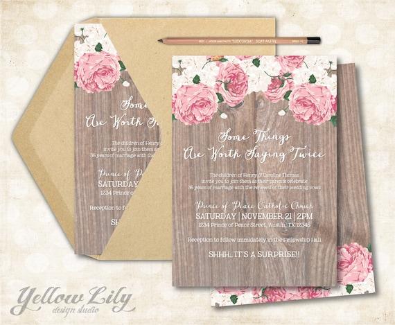 Invitation For Renewal Of Wedding Vows: Vow Renewal Invitation Vintage Floral / Surprise Vow Renewal