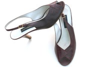 Vintage Joan & David Dark Burgundy/Brown Leather Peep Toe Slingback Dress Heels Shoes Sz. 7.5